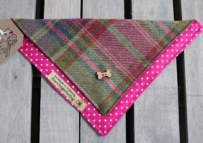 Pink Tweed Wool Neckerchief Bandana