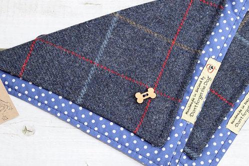 Navy Blue Tweed Neckerchief Bandana