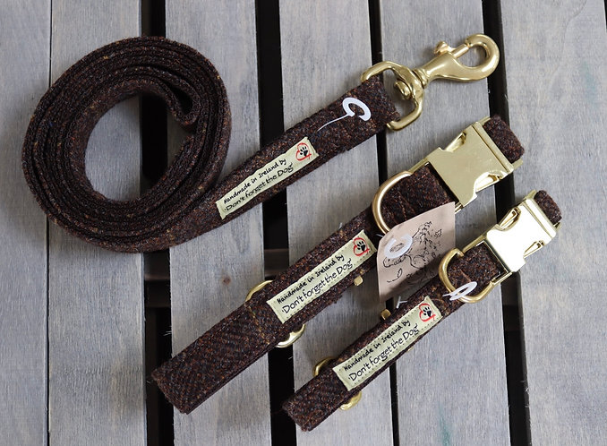 Brown/Gold Tweed Wool Lead Brass Trigger Clasp