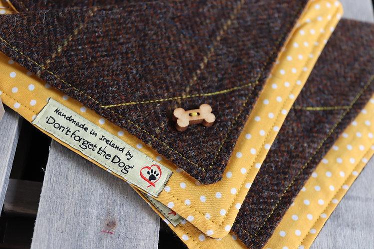 Brown Tweed Wool Neckerchief Bandana