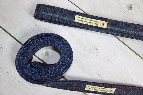 Navy Blue Tweed Wool Lead Metal