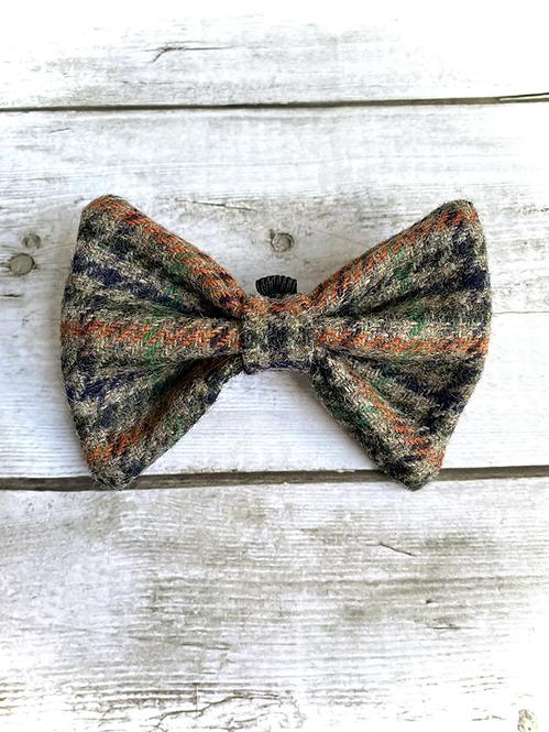 Green, Black, Orange Houndstooth Tweed Wool Dicky Bow