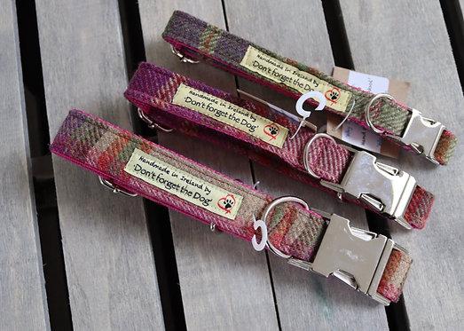Pink Tweed Wool Collar Metal Buckle