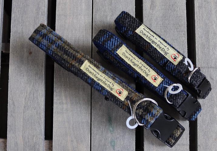 Blue/Gold Tweed Wool Collar Plastic Buckle