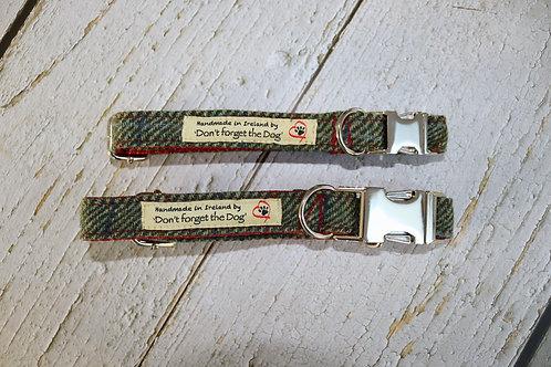 Two Tone Green Tweed Wool Collar 'Red Nylon' Metal Buckle