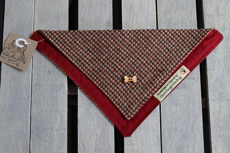 Red/Green/Brown Tweed Wool Neckerchief Bandana
