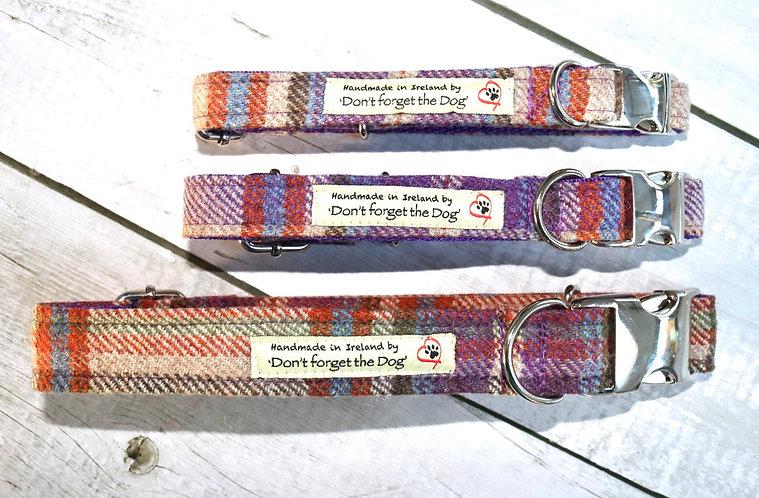 Purple Tweed Wool Collar Metal Buckle