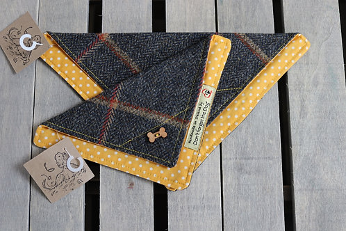 Navy Blue Tweed Windowpane Wool Neckerchief Bandana