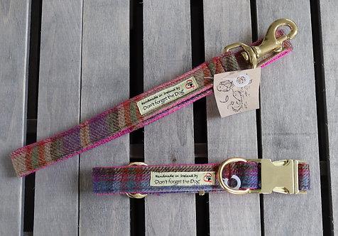 Pink/Blue Tweed Wool Collar on Brown Nylon, Brass Buckle