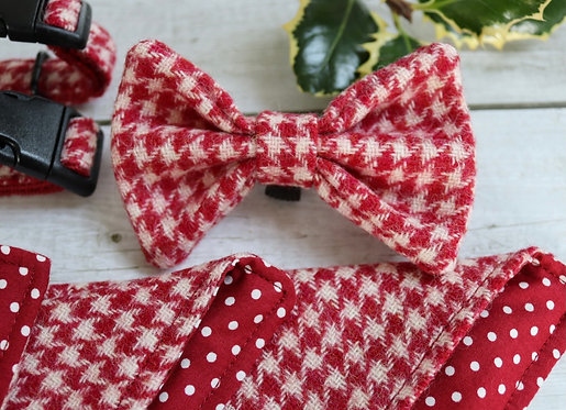 Red and White Houndstooth Tweed Wool Dicky Bow