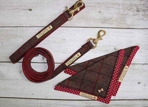 Brown & Red Tweed Wool Lead Brass Trigger Clasp