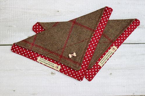 Brown Red Windowpane Country Tweed Neckerchief Bandana