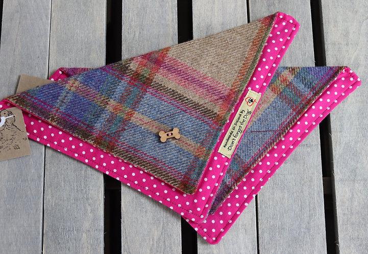 Pink/Blue Tweed Wool Neckerchief Bandana