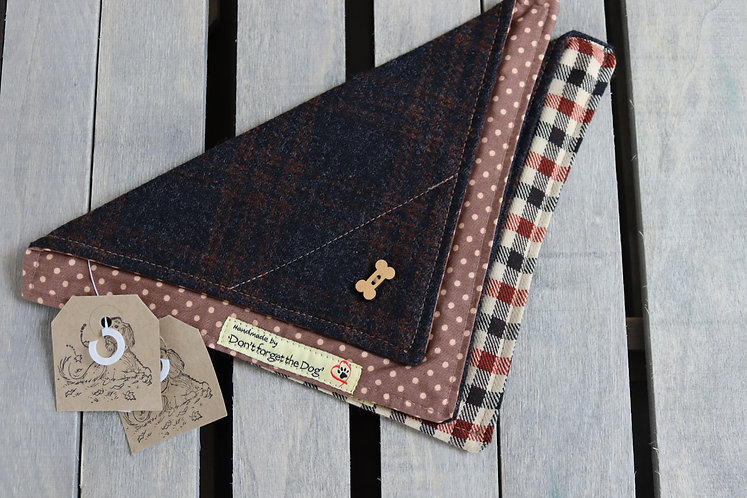 Black/Brown Tweed Wool Neckerchief Bandana