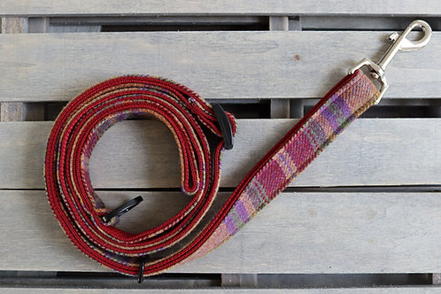 Lifestyle Lead Burgundy Tweed Wool 'Extendable' Lead with Metal Trigger Clasp