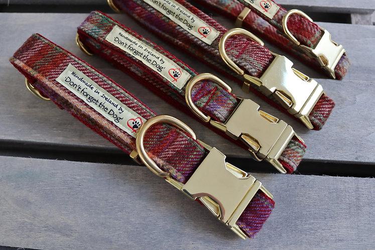 Burgundy Tweed Wool Collar Brass Buckle