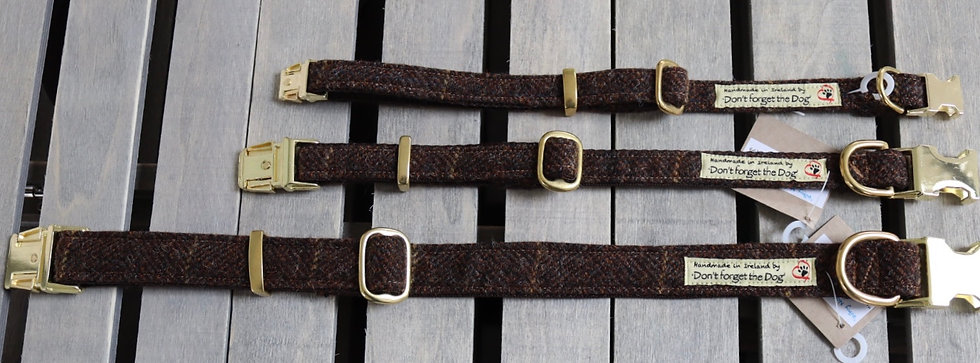 Brown/ Gold Tweed Wool Collar Brass Buckle