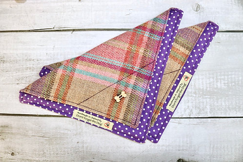 Pink & Purple Tweed Neckerchief Bandana