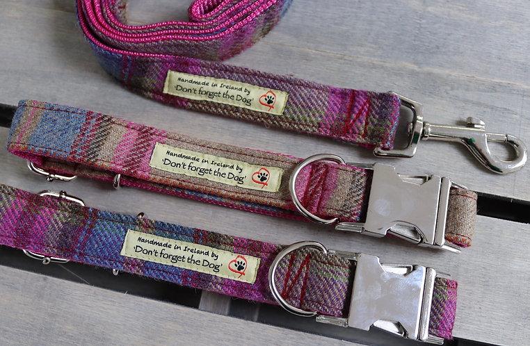 Pink/Blue Tweed Wool Collar Metal Buckle