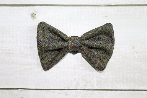 Green Windowpane Tweed Wool Dicky Bow