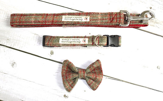 Rustic Red & Green Tweed Bow, Collar & Lead Set