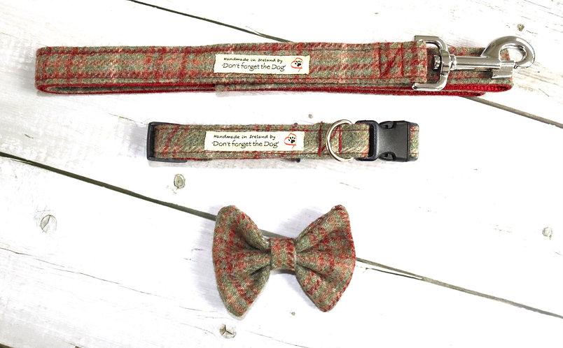 Rustic Red & Green Tweed Bow, Collar & Lead Set