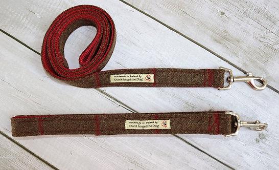Brown Red Windowpane Tweed Wool Lead Metal Trigger Clasp