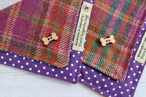 Purple Green & Russet Tweed Neckerchief Bandana