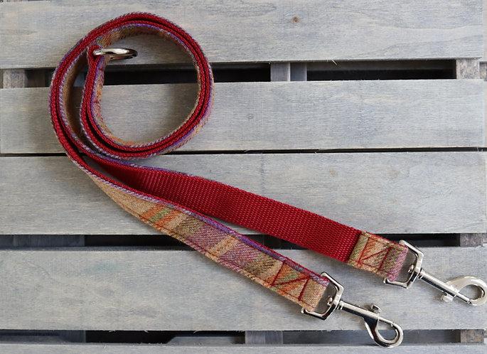 Dual Dog'V' Lead Accessory' Burgundy Tweed Wool with 2 Metal Trigger