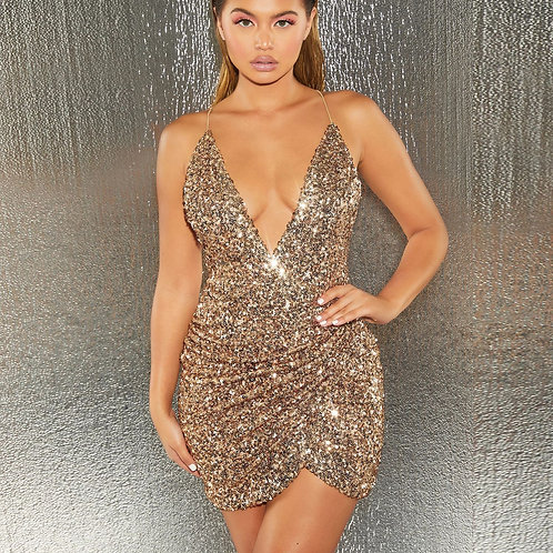 Sexy V-neck Backless Irregular Sequin Party Prom Club Bodycon Dress