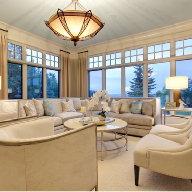 Formal Living room with painted ceiling
