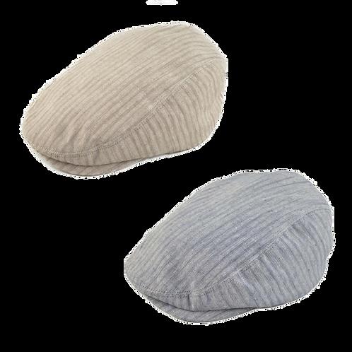 Linen Mix Flat Cap Beige or Grey Stripe