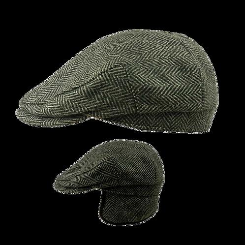 Earflap Tweed Cap -Herringbone