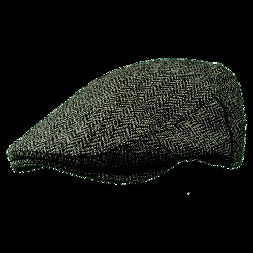 Grey Herringbone Merino Flat Cap 1088