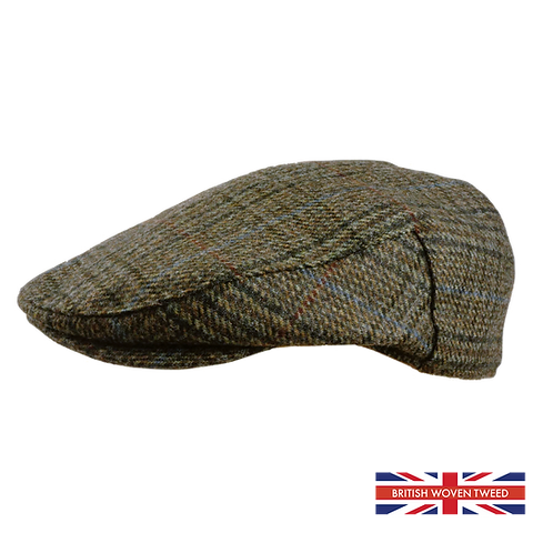 Brown Grey Check Tweed Cap 481