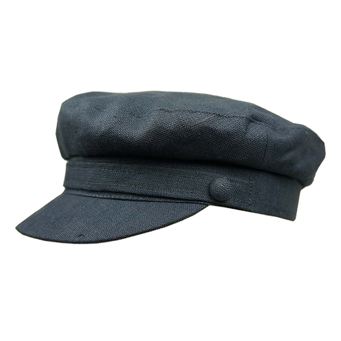 Navy Linen Breton Cap