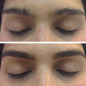 before and after professional brow shaping - brow waxing done by Jessica