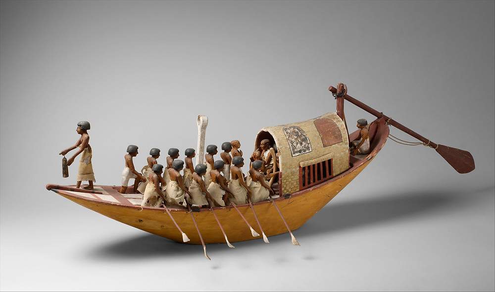 Travelling Boat being Rowed - Egyptian Miniature Model from the Met (public domain)