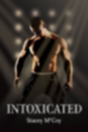 Shirtless man, on his knees while on stage. Intoxicated book cover.