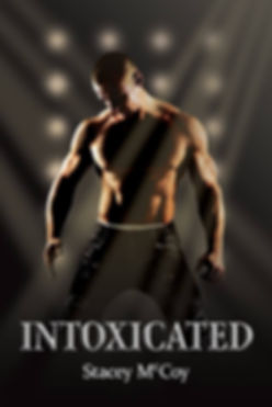 Shirtless man on his knees while on stage. Intoxicated book cover.