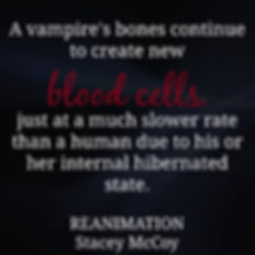 A vampire's bones continue to create new blood cells, just at a much slower rate than a human due to his or her internal hibernated state. Reanimation book teaser.