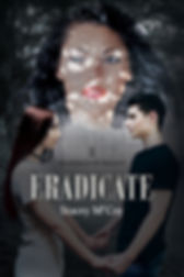 Kady and Rylan holding hands while Rylan's wicked ex-girlfriend, Savanah, watches on. Eradiate book cover.