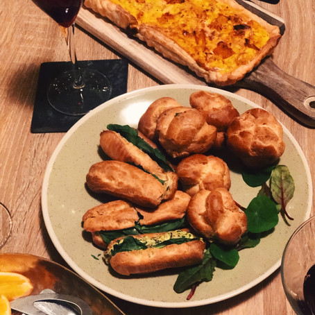 Spinach & 3 Cheese Profiteroles with a kick!