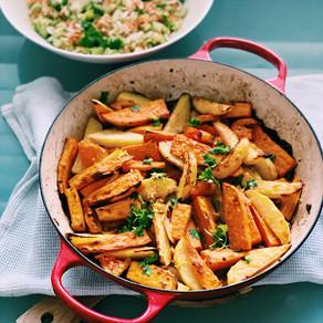Garlicky Cumin & Tomato Roasted Potatoes