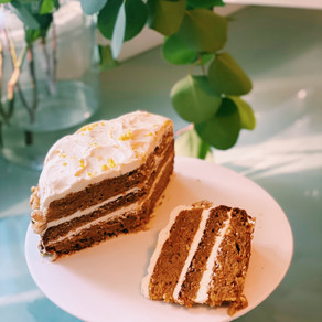 Carrot Cake with Lemon Cream Cheese Icing and Walnuts