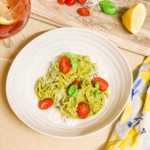 Zesty Kale Pesto Pasta with  cherry tomatoes