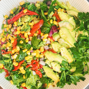 Corn, Pepper, and Greens Salad with a Zesty Buttermilk and Feta Dressing