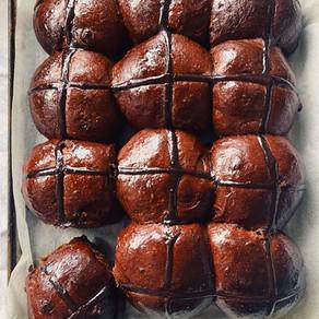 Chocolate Cardamom Hot Cross Buns