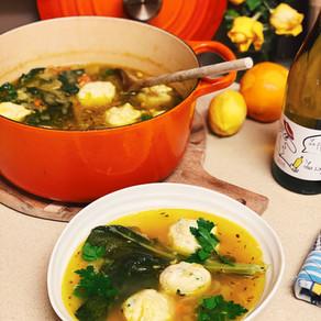 Springtime Soup with Ricotta Dumplings, Beans & Greens