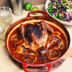 Moroccan Roasted Crispy Chicken with Harissa and Apricots